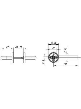 Ручка раздельная DSS-0201/19 (нержавейка)